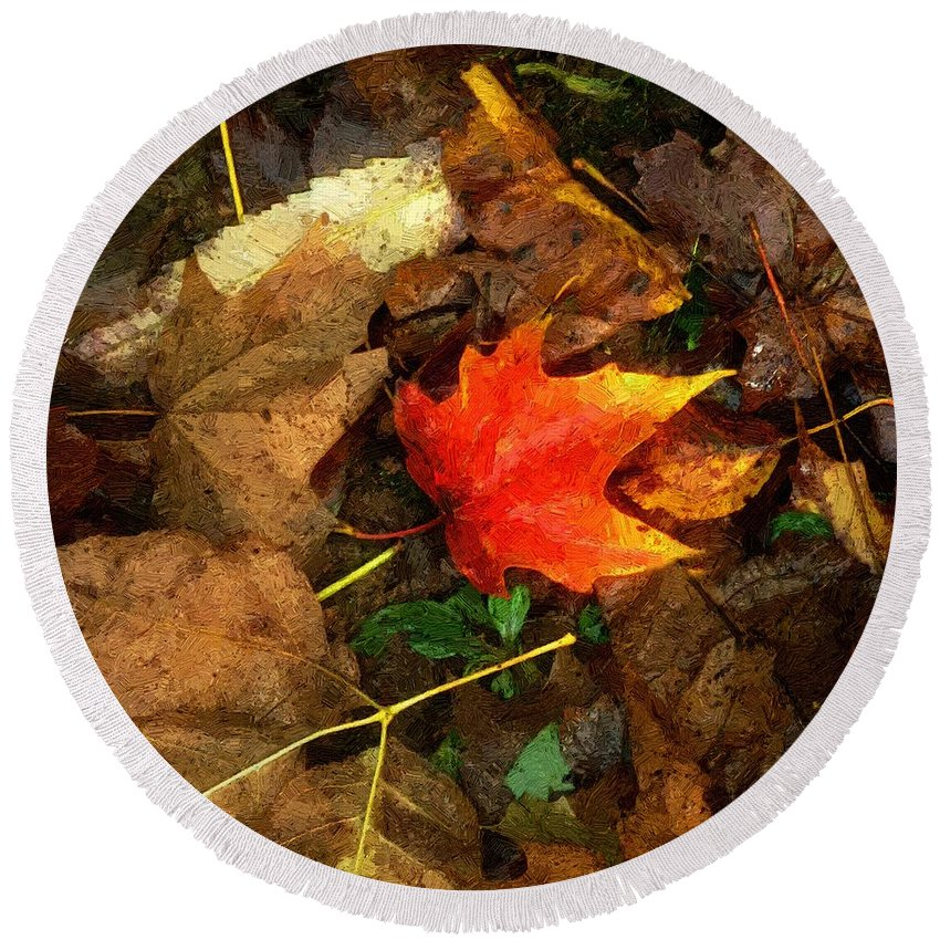 Autumn Round Beach Towel featuring the painting Fall Flames Out by RC DeWinter