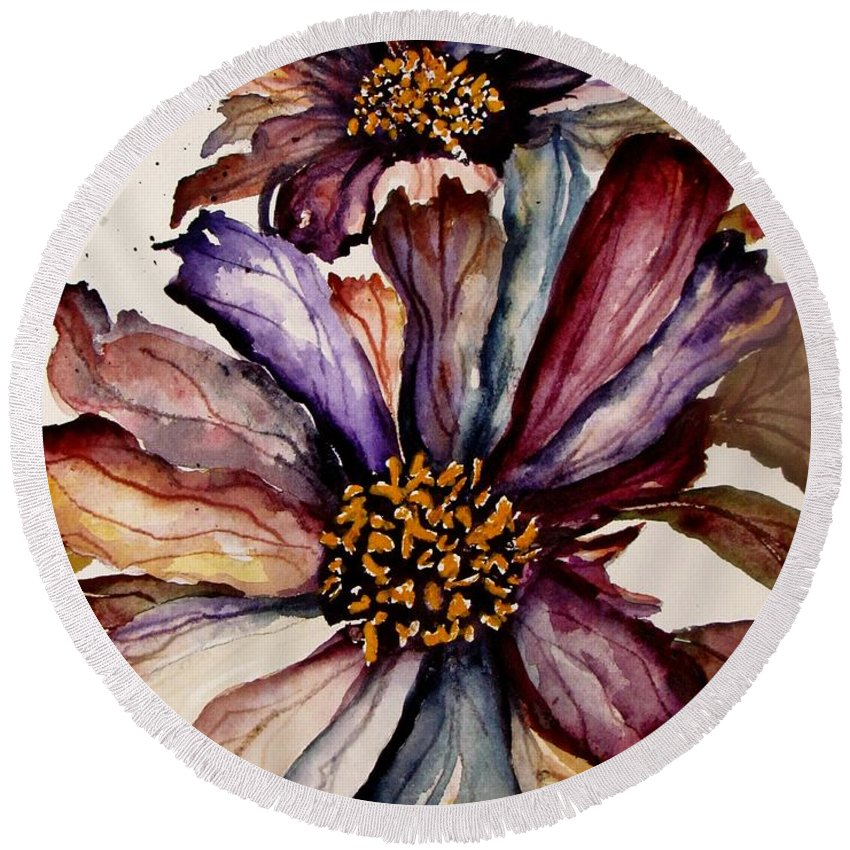 Flowers Round Beach Towel featuring the painting Fall Flower Colors by Lil Taylor