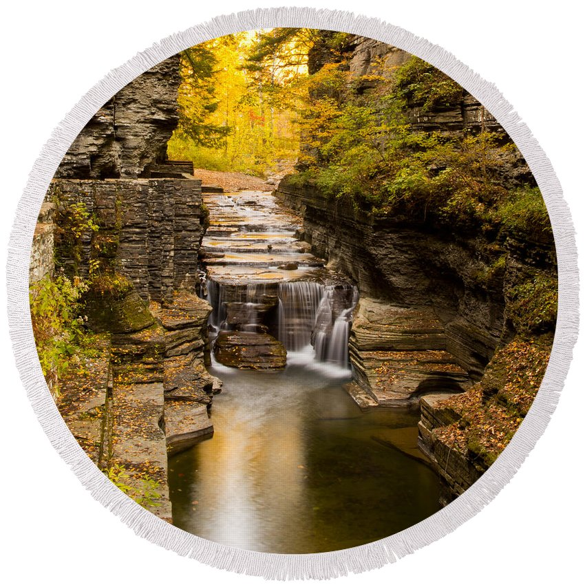 Ithaca Round Beach Towel featuring the photograph Fall Foliage At Dusk Treman Park by Brad Marzolf Photography