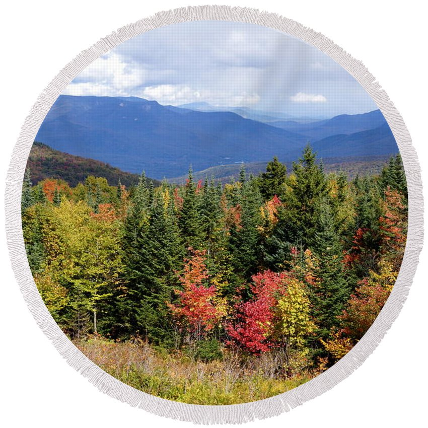 Newhampshire Round Beach Towel featuring the photograph Fall Foliage by Kerri Mortenson