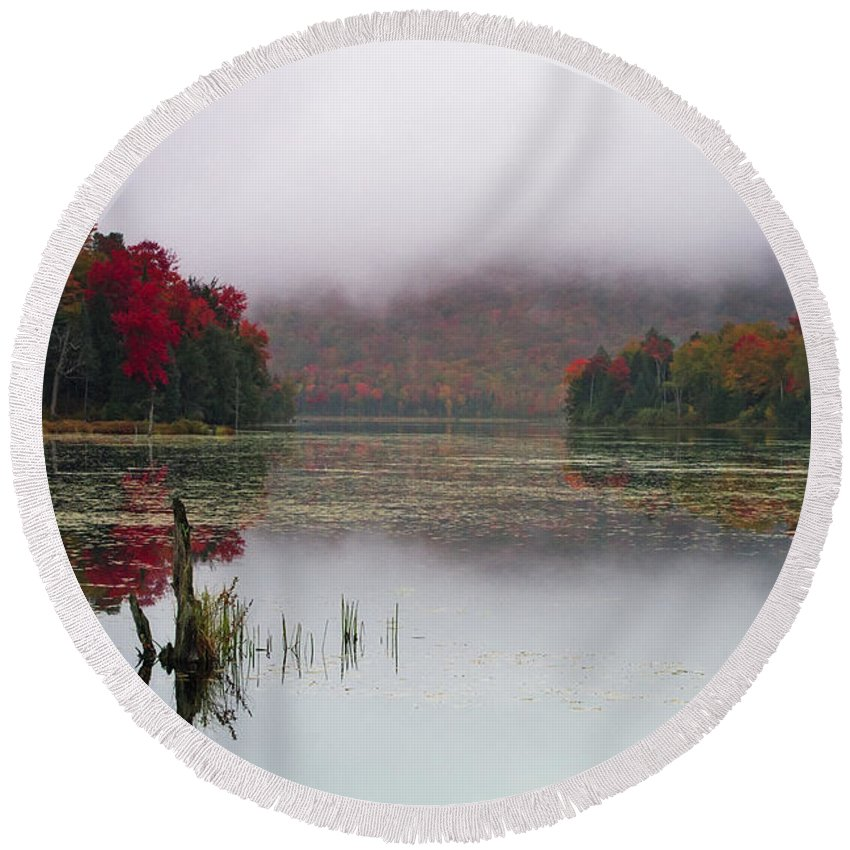 Autumn Round Beach Towel featuring the photograph Fall Foliage Reflections In Northern Vermont by John Vose