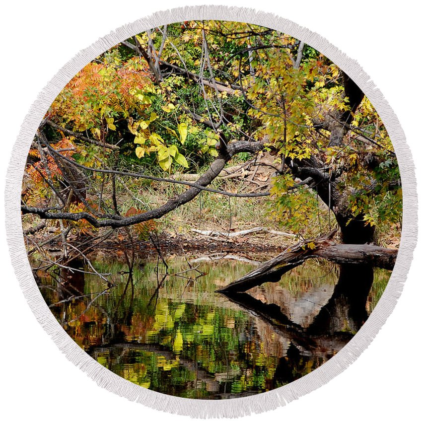 Fall Leaves Colors Branches Water One Mile Bidwell Park Chico Ca Round Beach Towel featuring the photograph Fall From The Water by Holly Blunkall