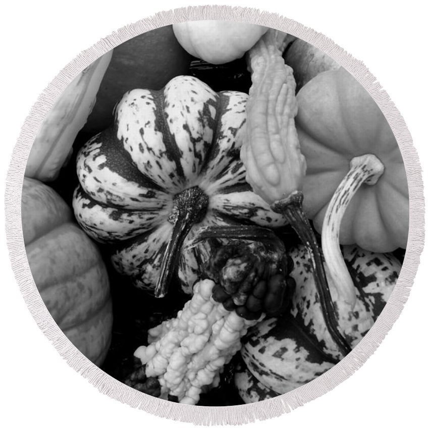 Fall Round Beach Towel featuring the photograph Fall Gourds Black And White by Erin Rednour