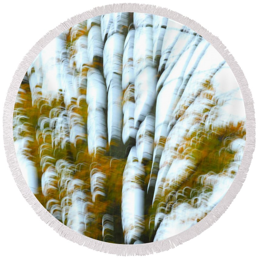Autumn Round Beach Towel featuring the photograph Fall In Motion by Karol Livote