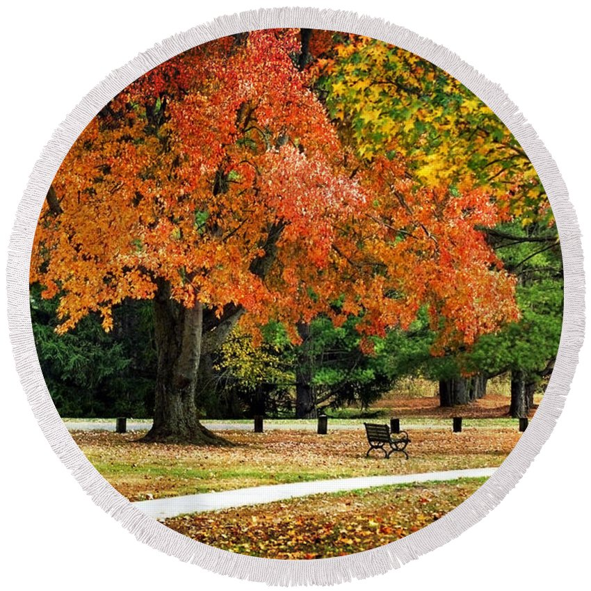 Fall Round Beach Towel featuring the photograph Fall In The Park by Christina Rollo