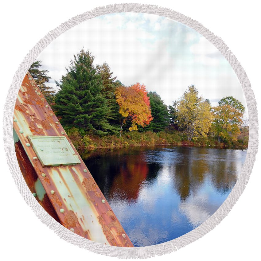 Fall Foliage Round Beach Towel featuring the photograph Fall Landscape Old Bridge Maine by Terri Winkler