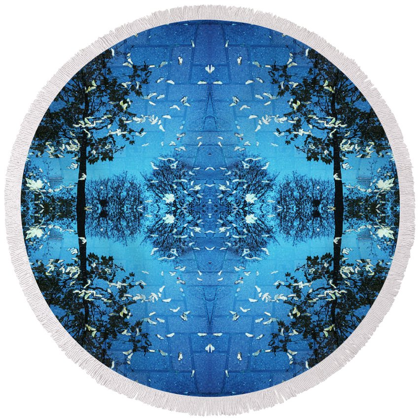 Kaleidoscope Round Beach Towel featuring the photograph Autumn Leaves Fall by Andy Prendy