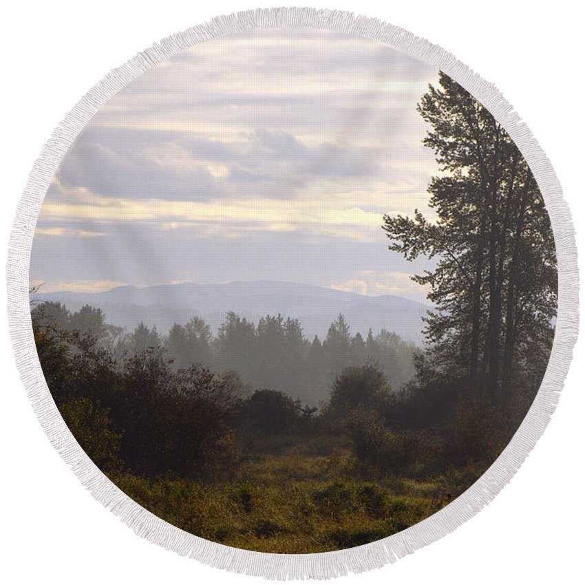Fall Morning Round Beach Towel featuring the photograph Fall Morning 2 by Sharon Talson