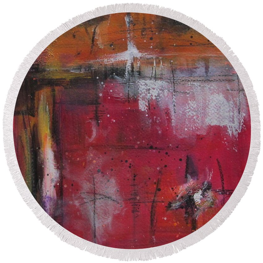 Abstract Painting Round Beach Towel featuring the painting Fall by Nicole Nadeau