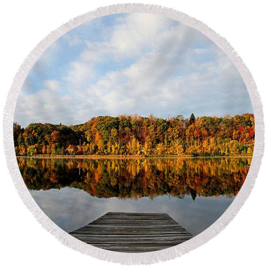 Lake Round Beach Towel featuring the photograph Fall On The Lake by DJ Florek