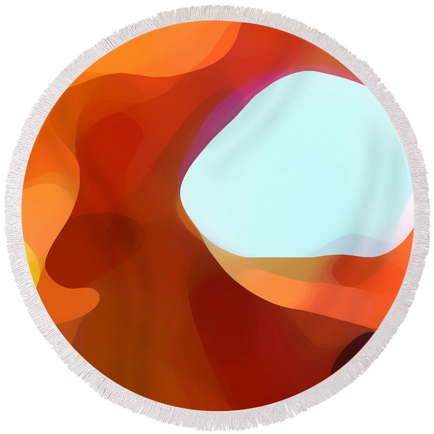 Abstract Round Beach Towel featuring the painting Fall Passage by Amy Vangsgard