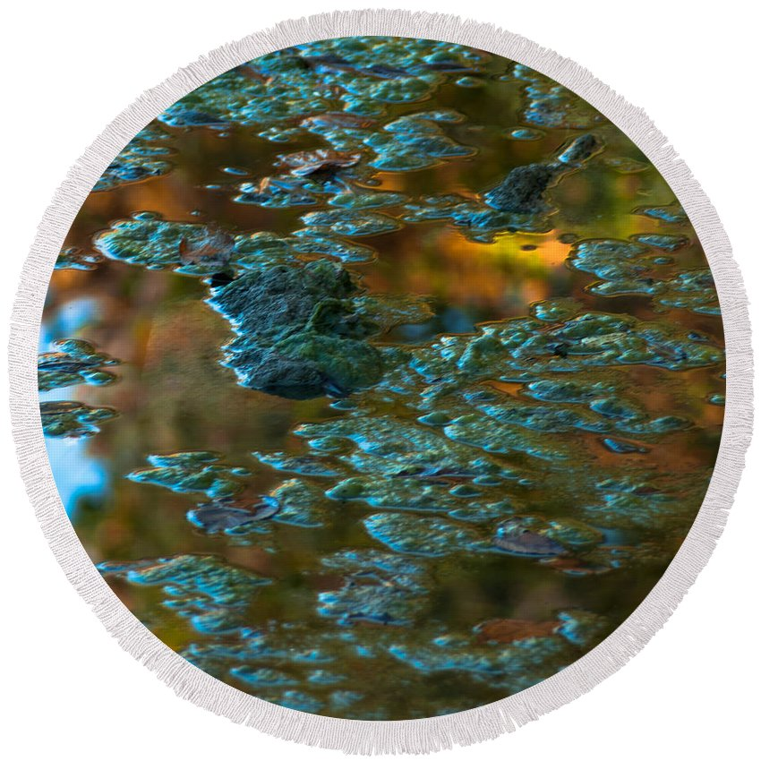Optical Playground By Mp Ray Round Beach Towel featuring the photograph Fall Reflection by Optical Playground By MP Ray