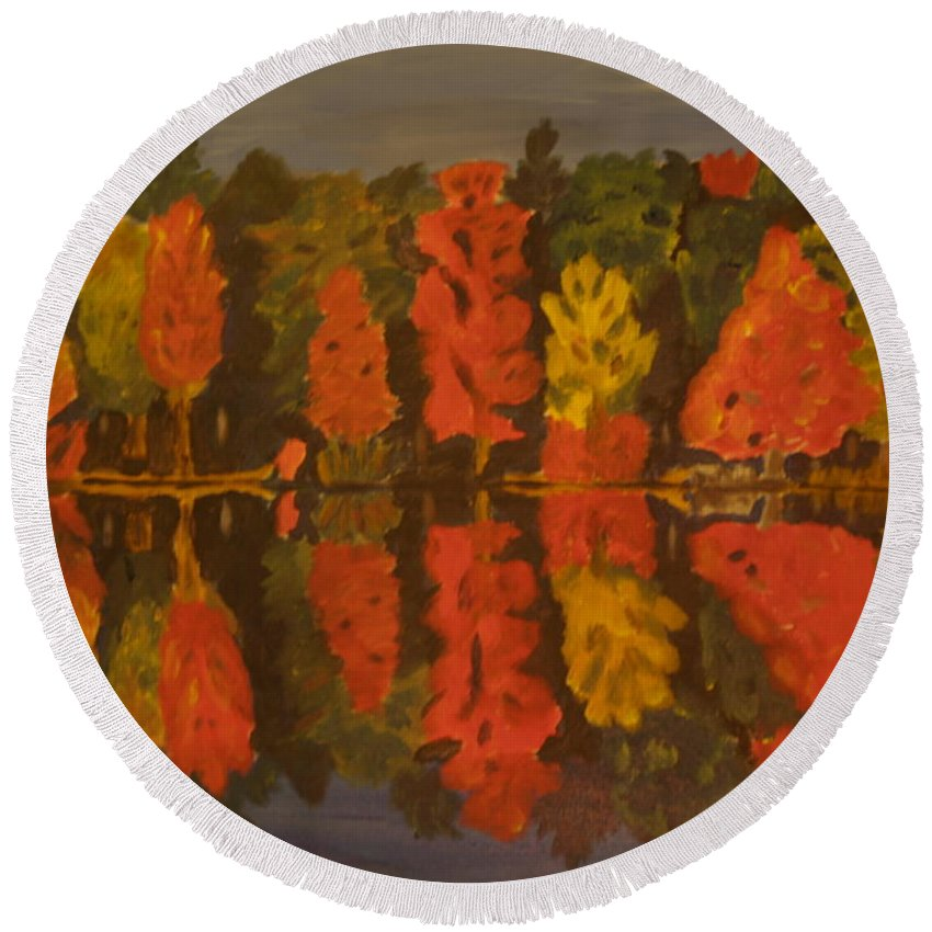 Landscape Round Beach Towel featuring the painting Fall Reflections by David Rodden