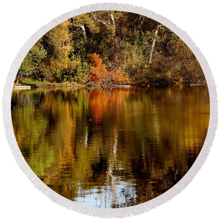 Fall Colors Leaves Water One Mile Park Bidwell Chico Ca Round Beach Towel featuring the photograph Fall Reflections by Holly Blunkall