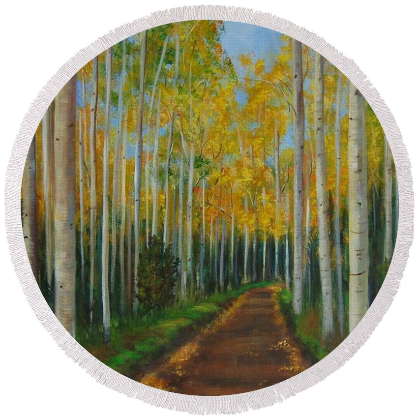 Trees On Either Side Of Long Road Round Beach Towel featuring the painting Fall Road by Jana Baker