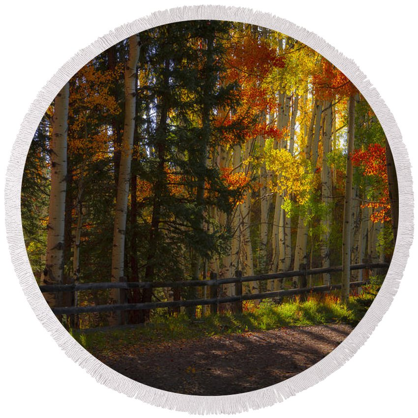 Colorado Round Beach Towel featuring the photograph Fall Road by Jeff Shumaker