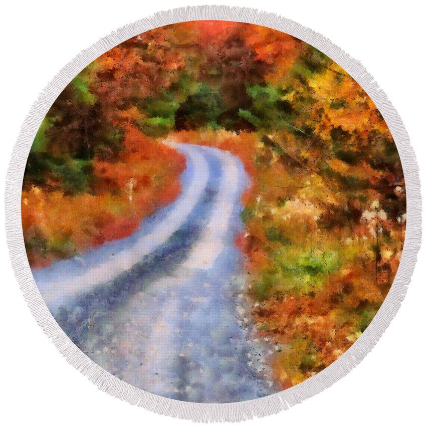 Fall Road To Paradise Round Beach Towel featuring the painting Fall Road To Paradise by Dan Sproul