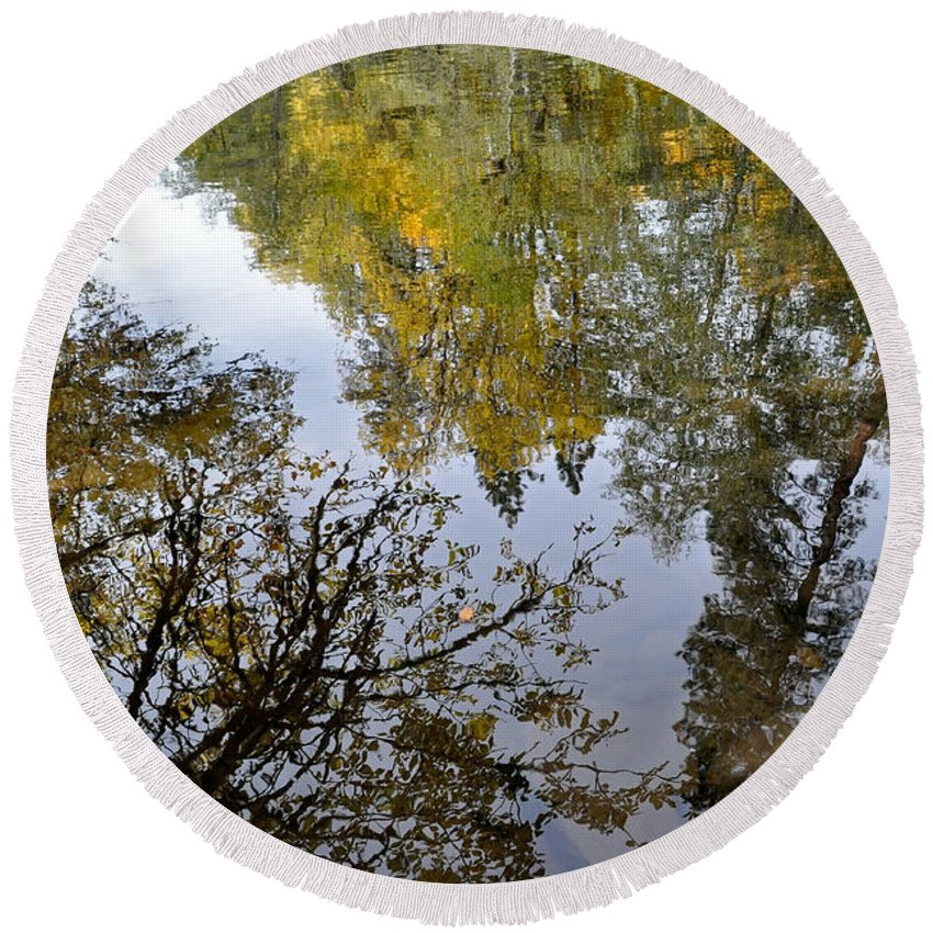 Reflections Round Beach Towel featuring the photograph Fall Series 34 by Teri Schuster