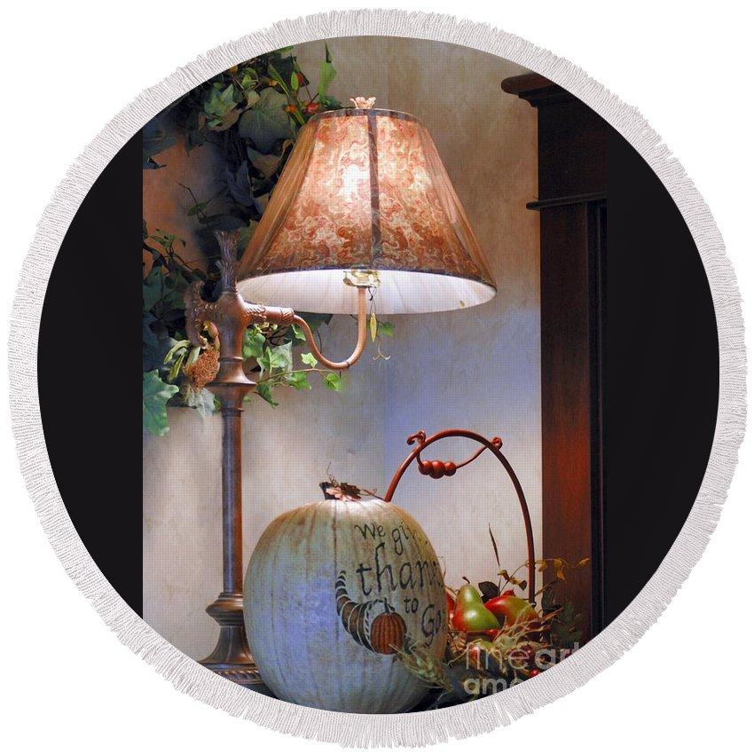 #table #lamp #pumpkin #dried Round Beach Towel featuring the photograph Fall Still Life by Kathleen Struckle