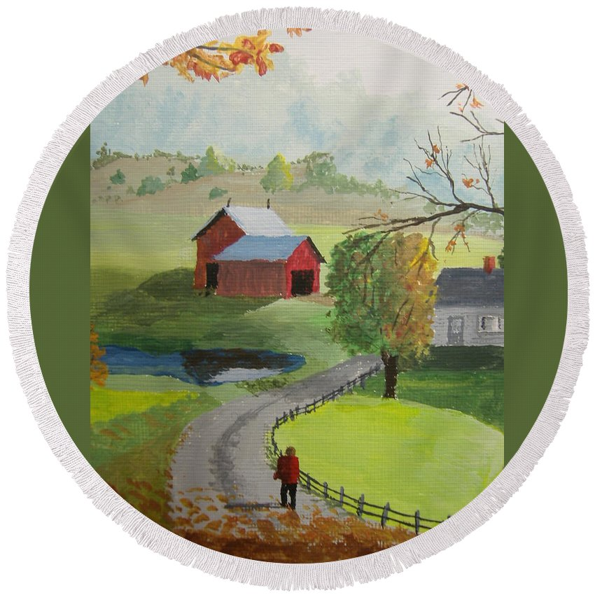 Farm Round Beach Towel featuring the painting Fall Walk by Norm Starks
