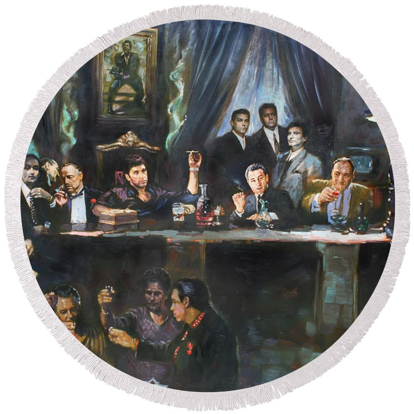 Gangsters Round Beach Towel featuring the painting Fallen Last Supper Bad Guys by Ylli Haruni