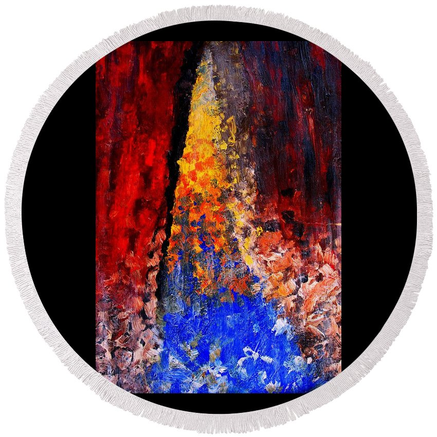 Abstract Round Beach Towel featuring the painting Falling by Ian MacDonald