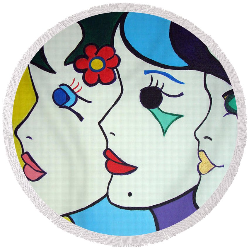 Pop-art Round Beach Towel featuring the painting Falling In Love by Silvana Abel