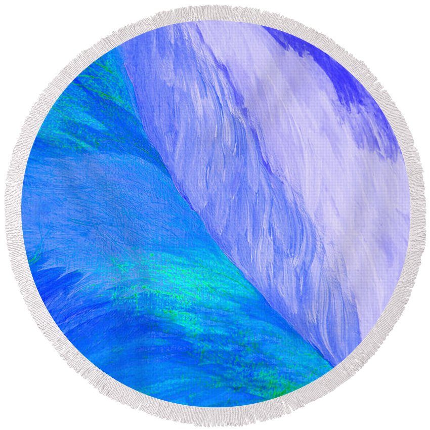 First Star Art Round Beach Towel featuring the painting Falling Water By Jrr by First Star Art