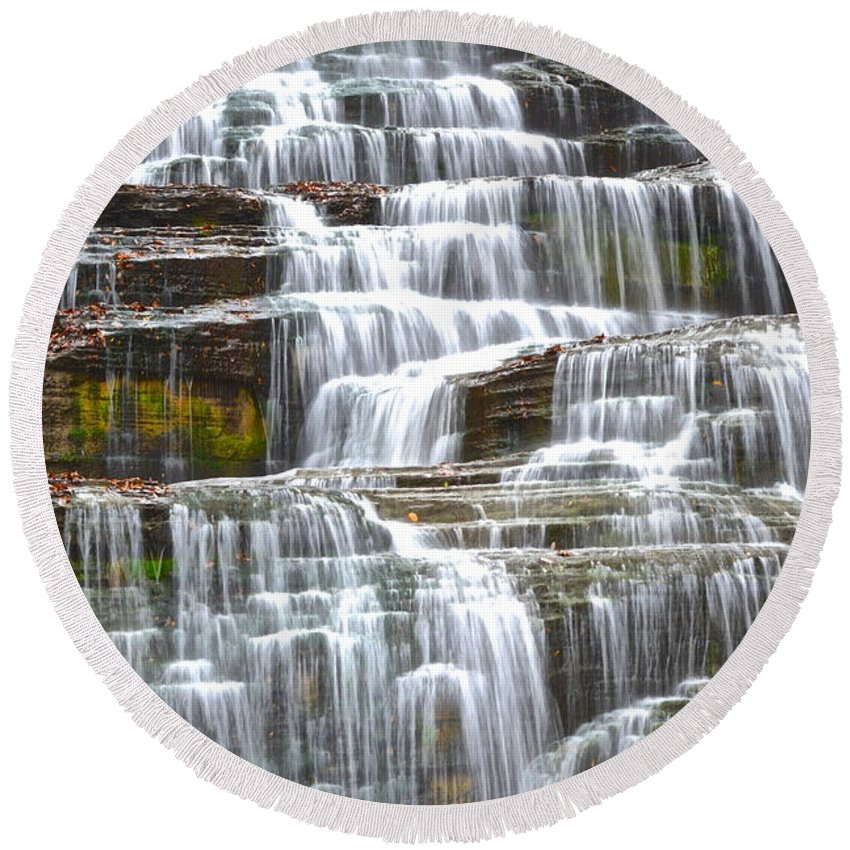 Falling Round Beach Towel featuring the photograph Falling Water by Frozen in Time Fine Art Photography