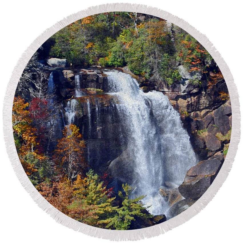 Whitewater Falls Round Beach Towel featuring the photograph Falls In Fall by Lydia Holly