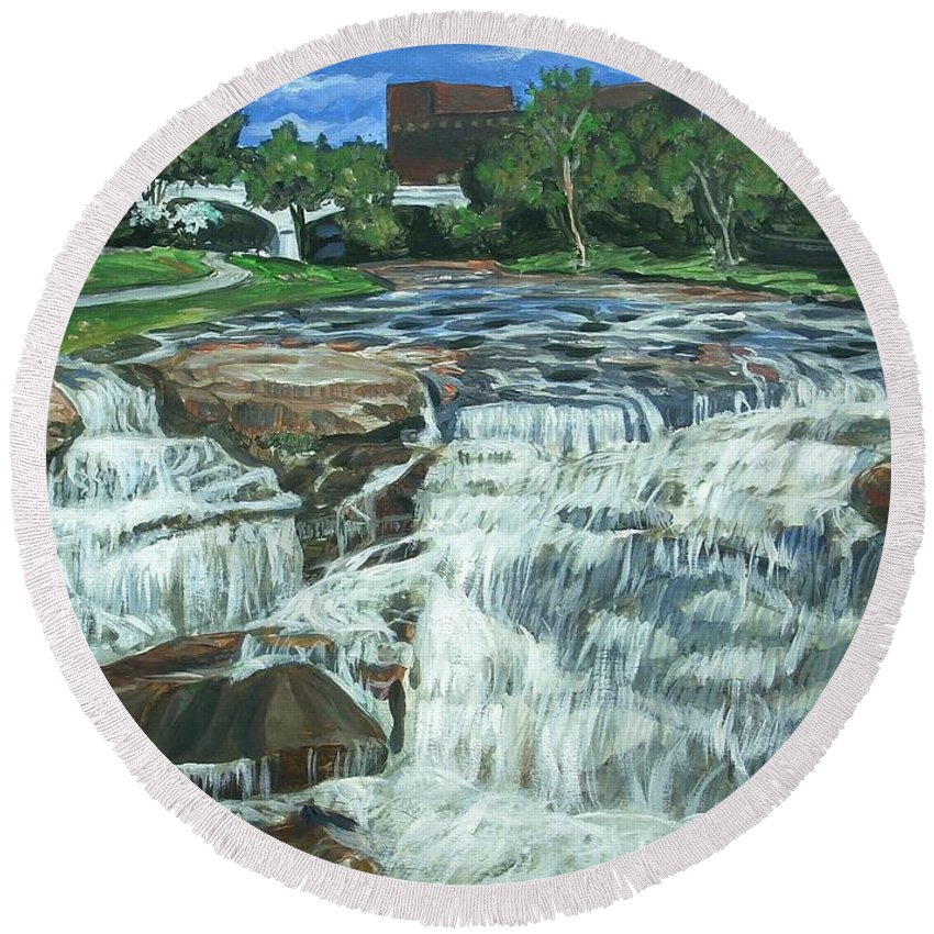 Waterfall Round Beach Towel featuring the painting Falls River Park by Bryan Bustard