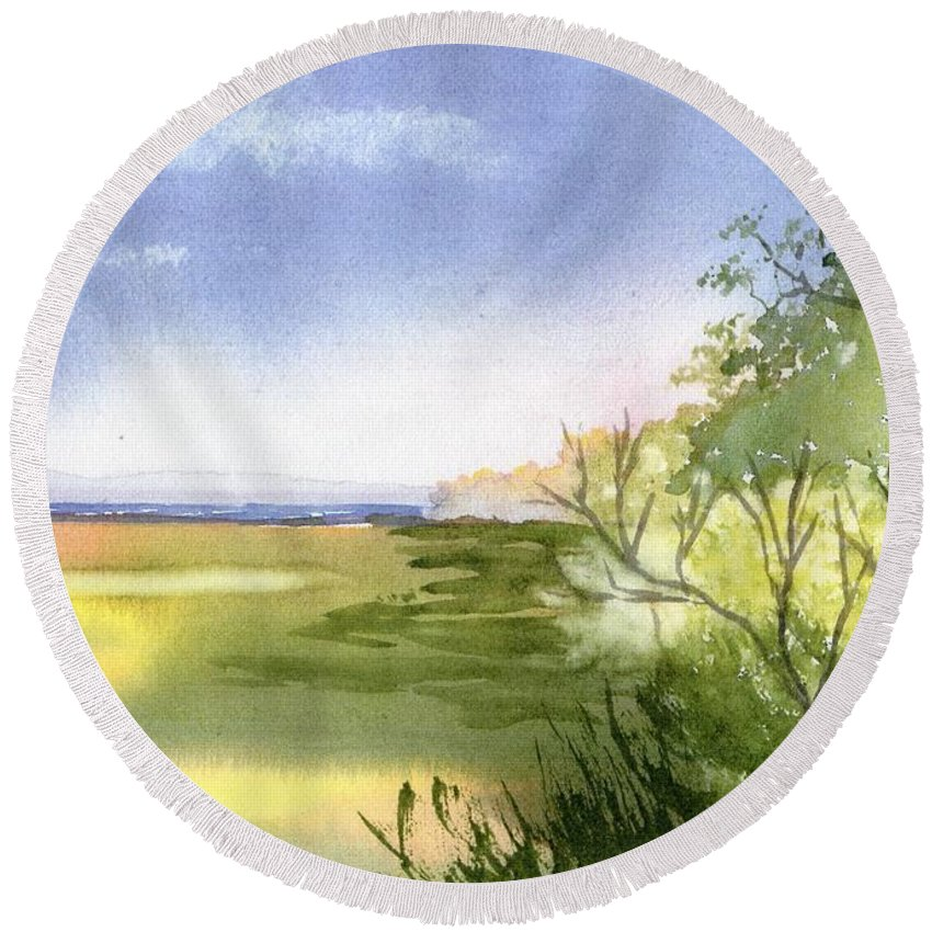 Falmouth Round Beach Towel featuring the painting Falmouth View by Joseph Gallant