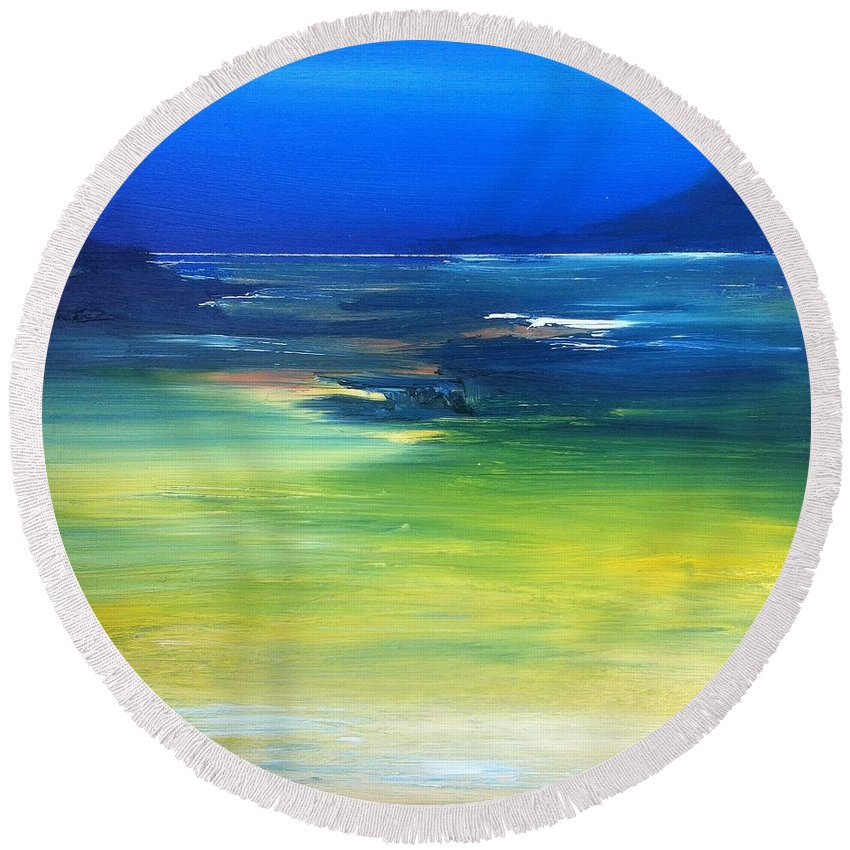 Reef Round Beach Towel featuring the painting Blue Waters by Fiona Jack