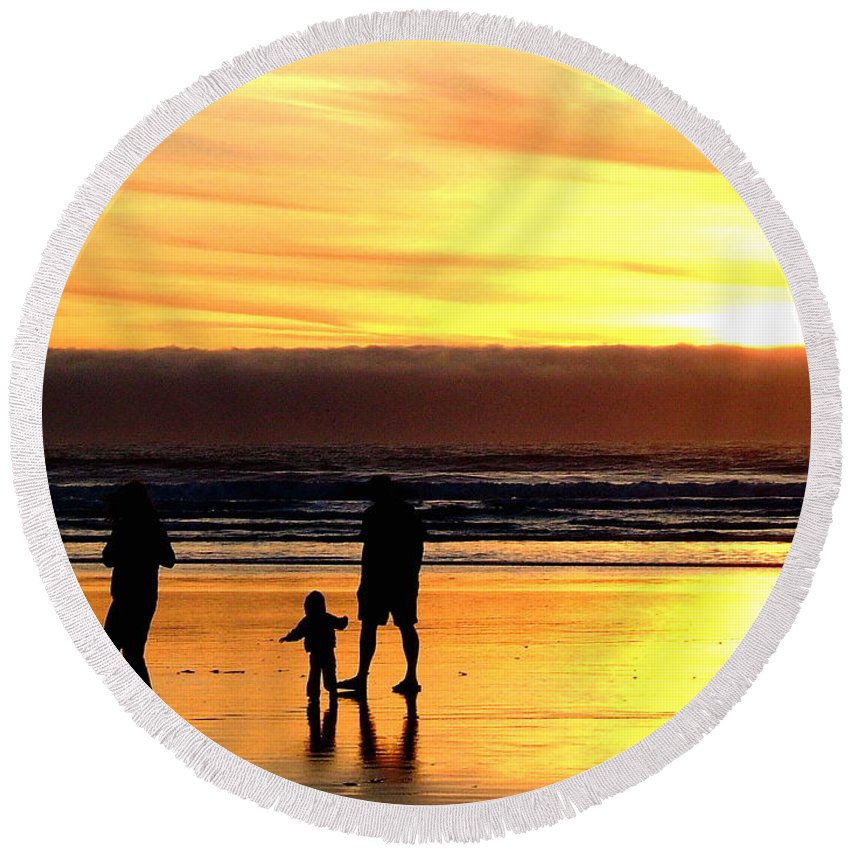 Family Round Beach Towel featuring the photograph Family In The Yellow Spotlight by Susan Wyman