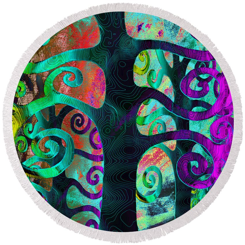 Family Round Beach Towel featuring the digital art Family Struggle 3 by Angelina Vick