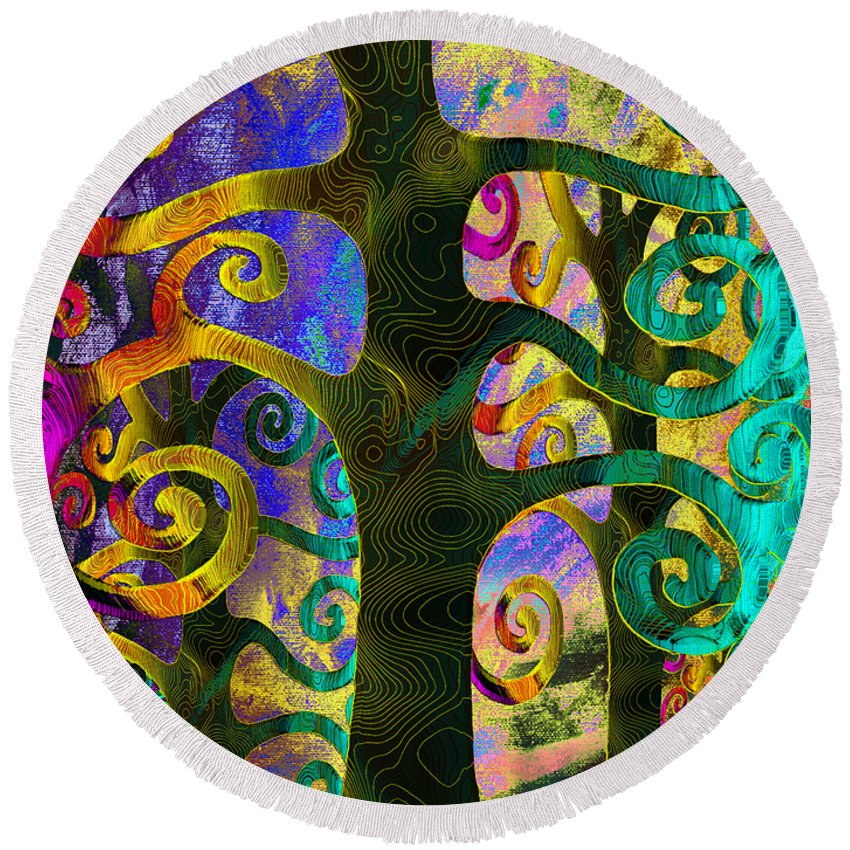 Family Round Beach Towel featuring the digital art Family Struggle 4 by Angelina Vick