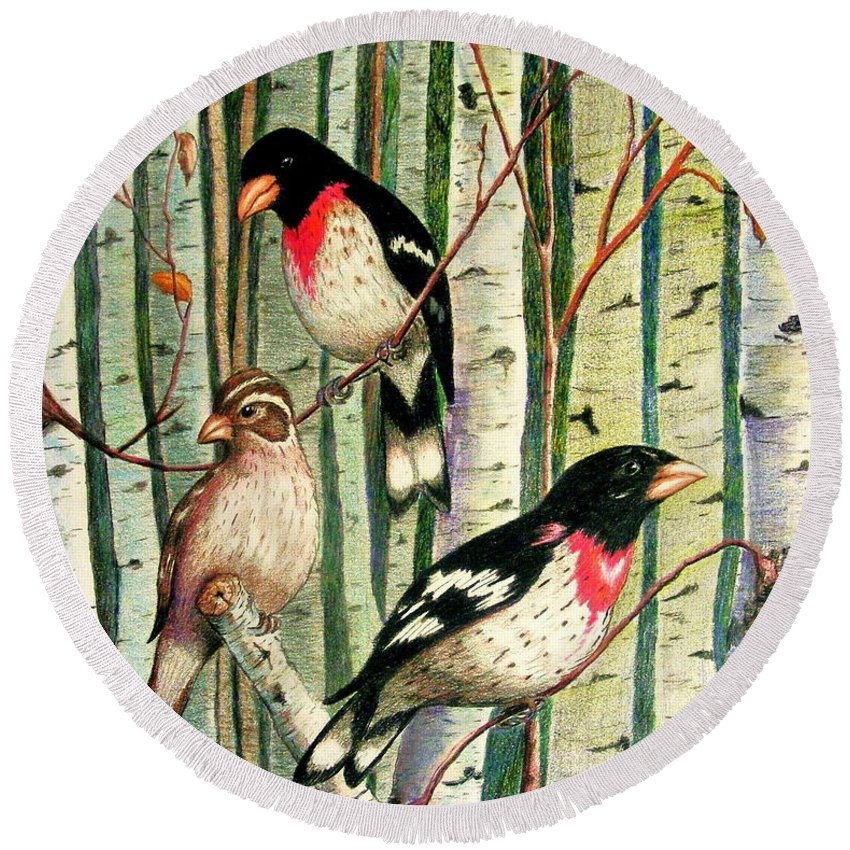 Birds Round Beach Towel featuring the drawing Family Trio by Marilyn Smith