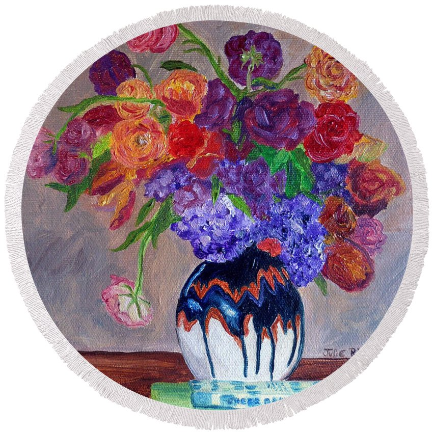 Rose Flower Arrangement Round Beach Towel featuring the painting Fanciful Bouquet by Julie Brugh Riffey