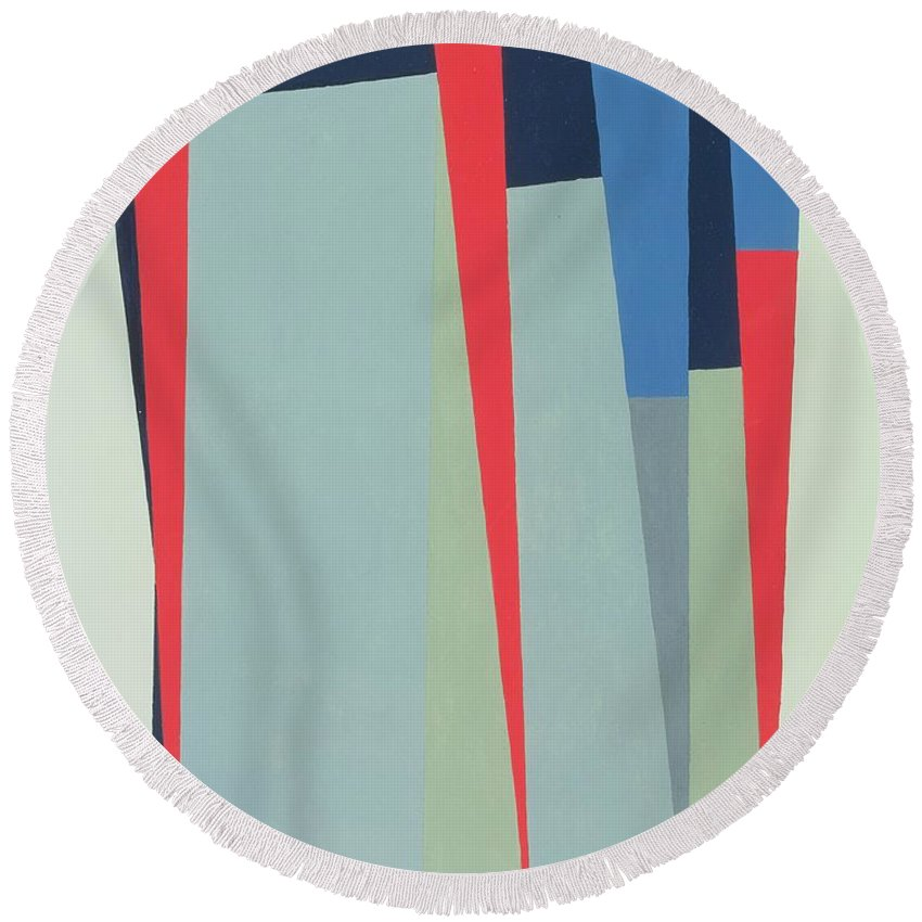 Abstract Round Beach Towel featuring the photograph Fanfare, 1974 Acrylic On Gouache And Pencil by George Dannatt
