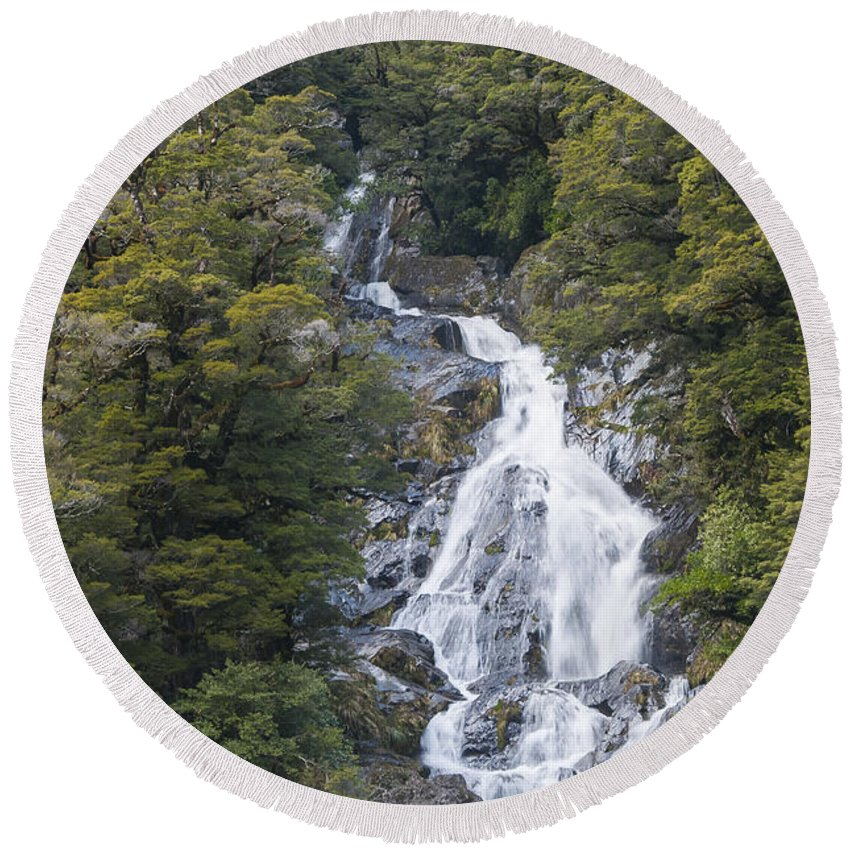 Mt. Aspiring National Park New Zealand Waterfalls Fantail Waterfall Falls Water Tree Trees Rock Rocks Landscape Landscapes Waterscape Waterscapes Round Beach Towel featuring the photograph Fantail Falls by Bob Phillips