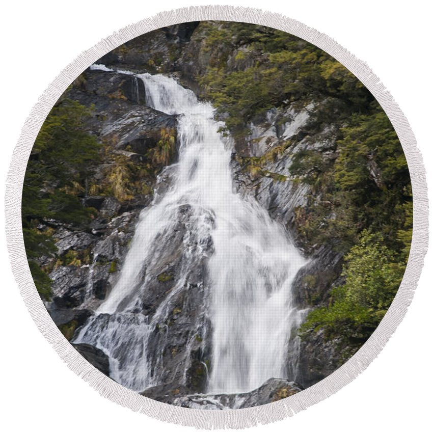 Mt. Aspiring National Park New Zealand Waterfalls Fantail Waterfall Falls Water Tree Trees Rock Rocks Landscape Landscapes Waterscape Waterscapes Round Beach Towel featuring the photograph Fantail Waterfalls by Bob Phillips