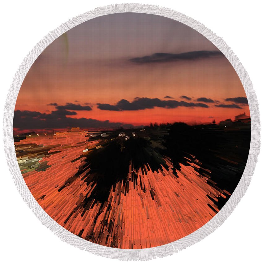 Augusta Stylianou Round Beach Towel featuring the photograph Fantastic Space Sunset by Augusta Stylianou