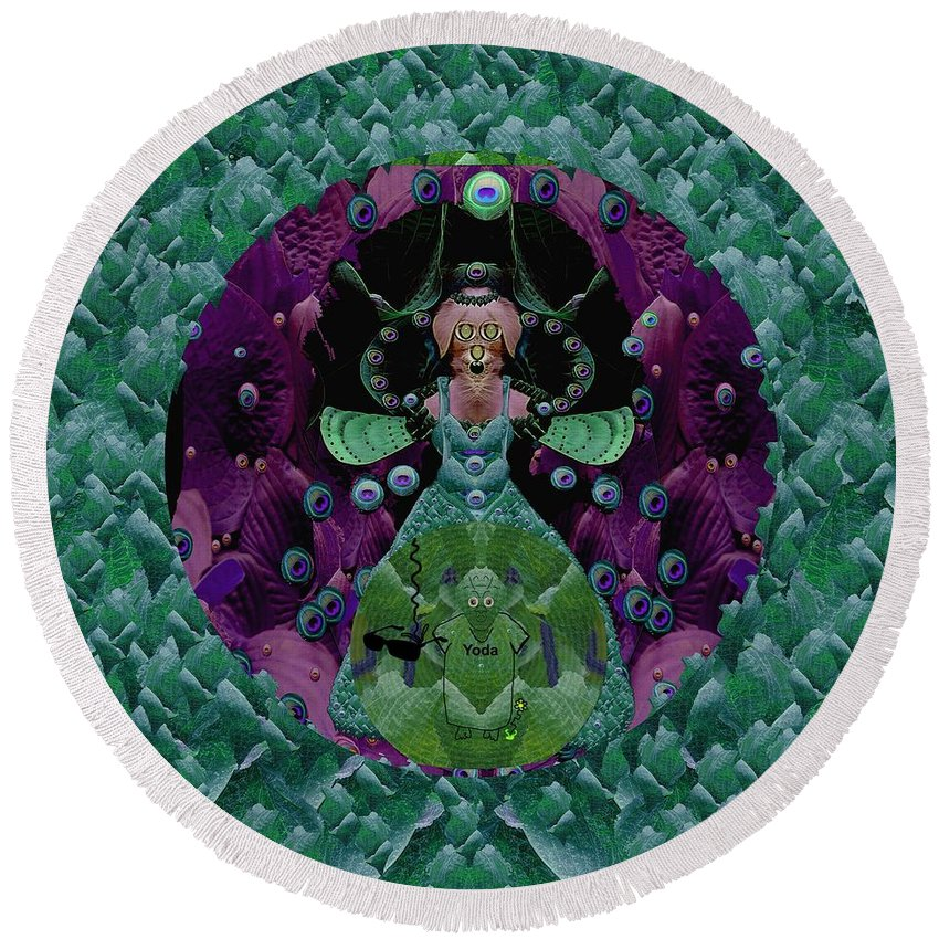 Cat Round Beach Towel featuring the mixed media Fantasy Cat Fairy Lady On A Date With Yoda. by Pepita Selles