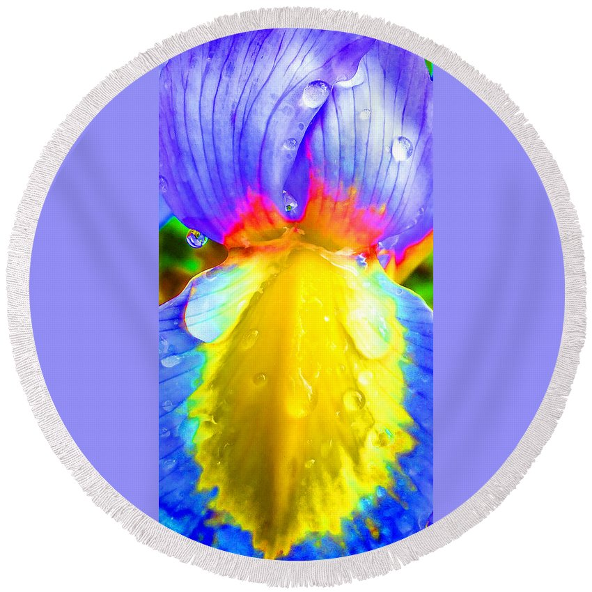 Duane Mccullough Round Beach Towel featuring the photograph Fantasy Flower 4 by Duane McCullough