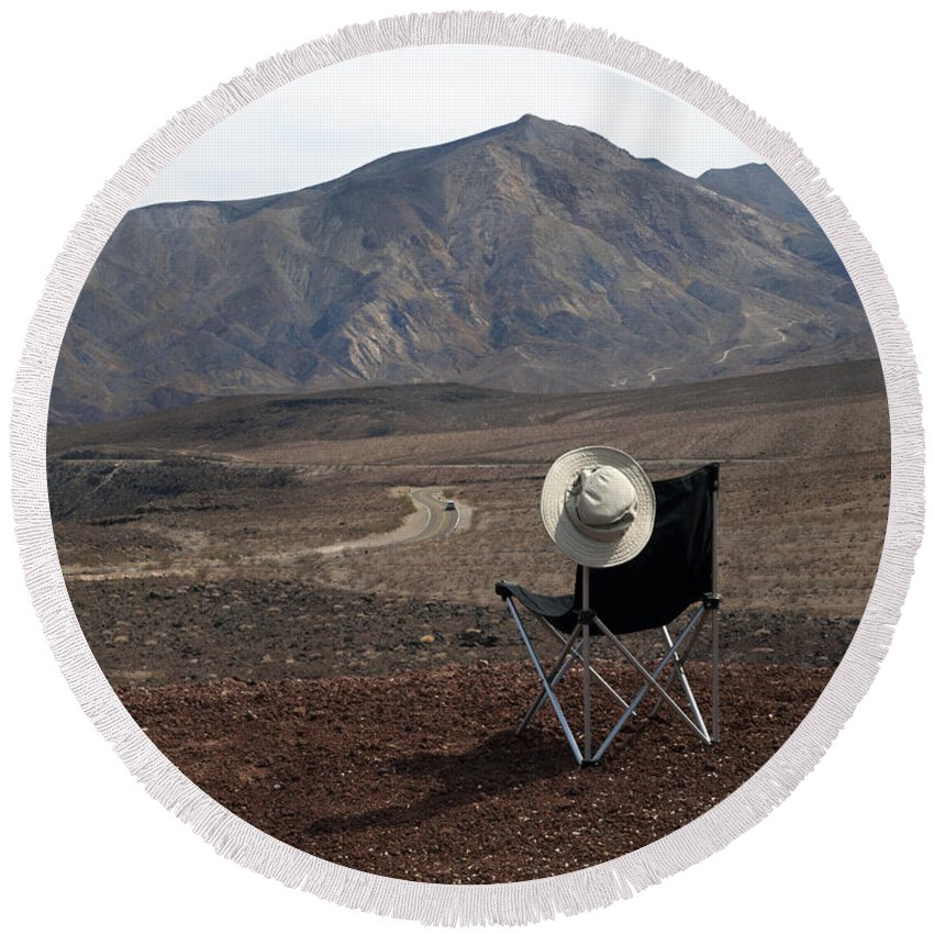 Highway Round Beach Towel featuring the photograph Far As My Eyes Can See by Joe Schofield