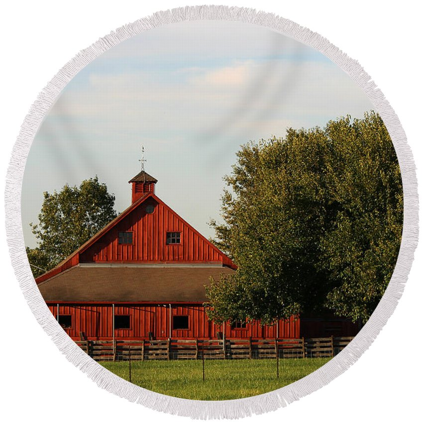 Agriculture Round Beach Towel featuring the photograph Farm-3582 by Gary Gingrich Galleries