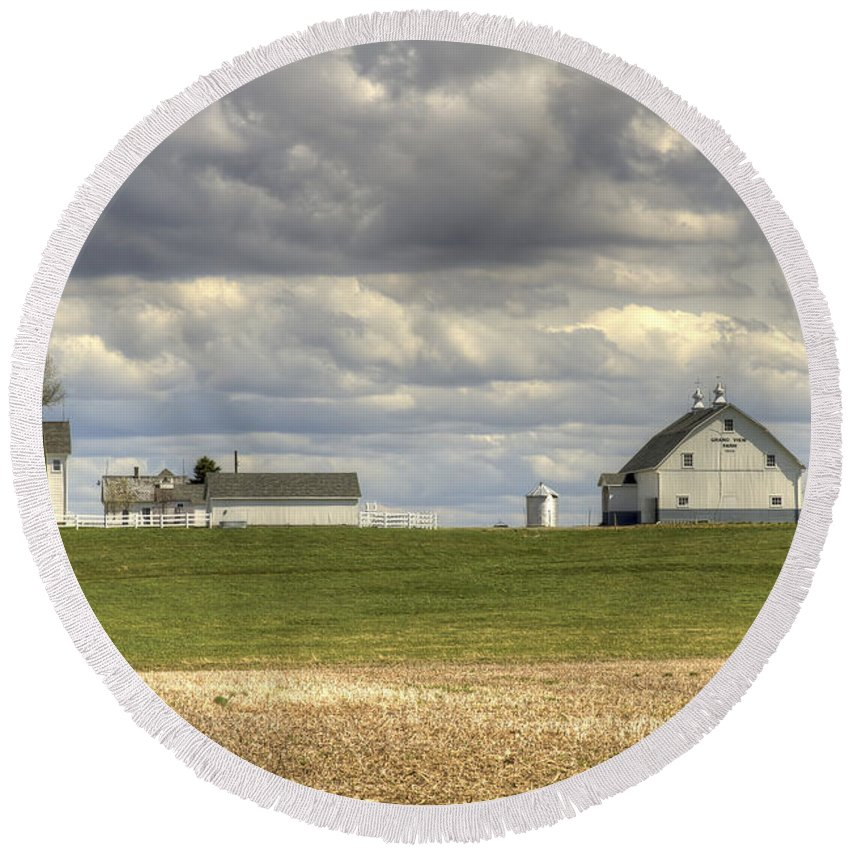 Agriculture Round Beach Towel featuring the photograph Farm Country by Jack R Perry