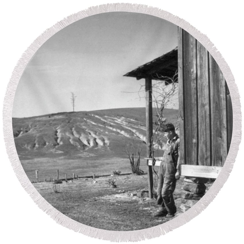 1937 Round Beach Towel featuring the photograph Farm Erosion, 1937 by Granger