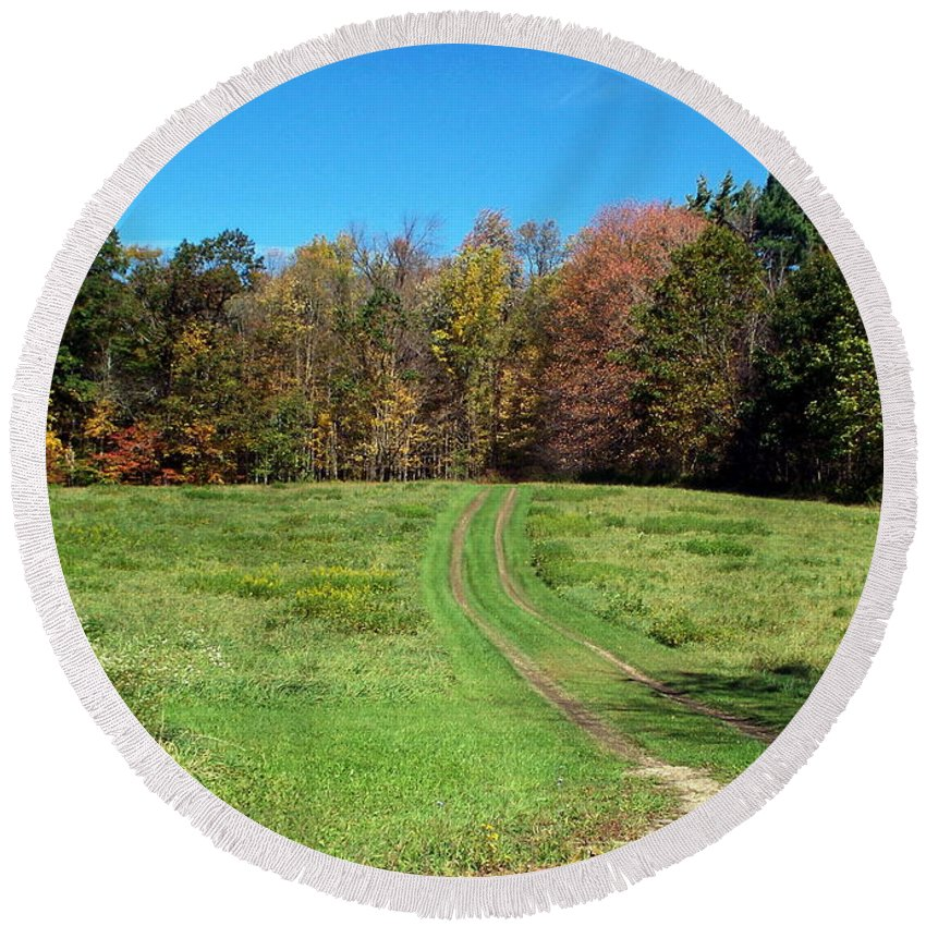 New York Round Beach Towel featuring the photograph Farm Road In Autumn by Christian Mattison