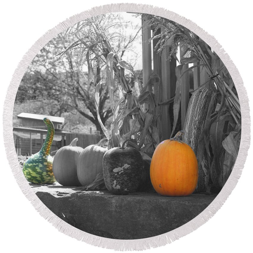 Pumpkins Round Beach Towel featuring the photograph Farm Stand In Autumn by Smilin Eyes Treasures